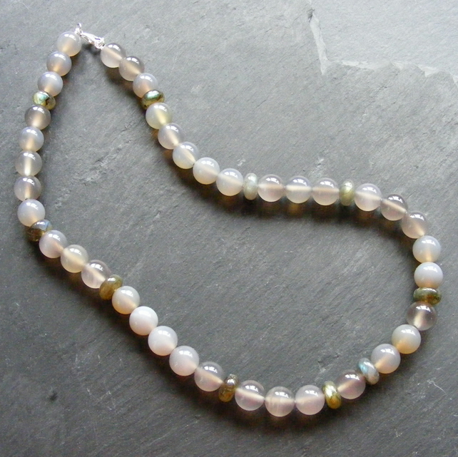 Necklace in Grey Agate & AA Grade Labradorite Gems with a Sterling Silver Clasp