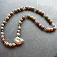 Necklace with Mixed Agates, Smoky Quartz & Ammonite with Sterling Silver Clasp