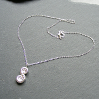 Pendant and Chain in Sterling Silver with Cast Ammonite Fossils -  Hall Marked
