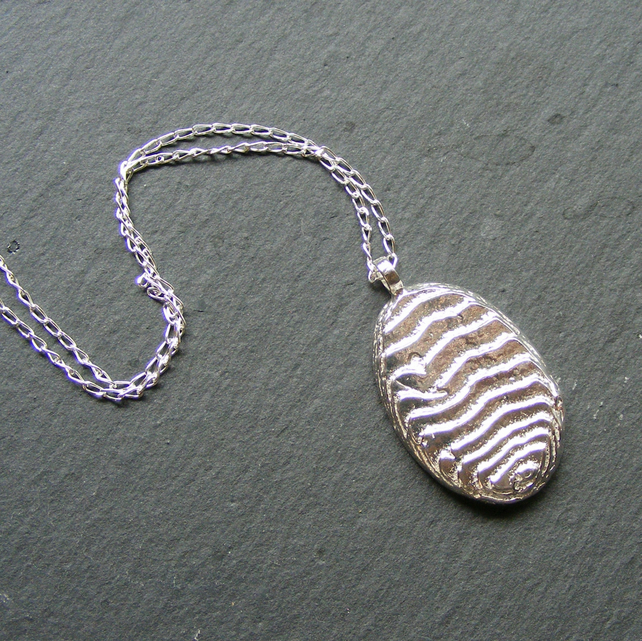Necklace in Sterling Silver with Large Cuttlefish Cast Oval Pendant, Hall Marked