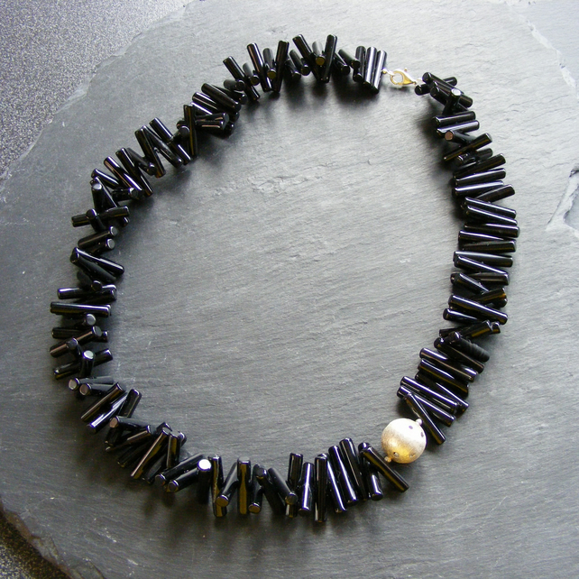 Necklace in Sterling Silver With Black Onyx Stick Cut Gems and Asymmetric Focal