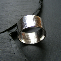 Wide Band Ring in Sterling Silver with Hammered Texture - Hall Marked Size U