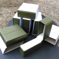 Six Quality Leatherette Bangle Gift Boxes with Cream Inserts and Card Sleeves
