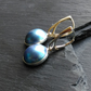 Drop Earrings in Sterling Silver with Cultured Blue Mabe Pearls
