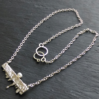 Bar Necklace in Sterling Silver with Cuttlefish Casting & FW Pearl Hall Marked