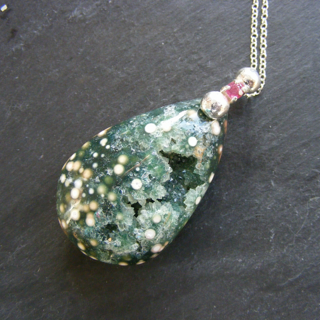 Pendant & Chain in Sterling Silver with Ruby & Ocean Jasper Druzy Hand Forged