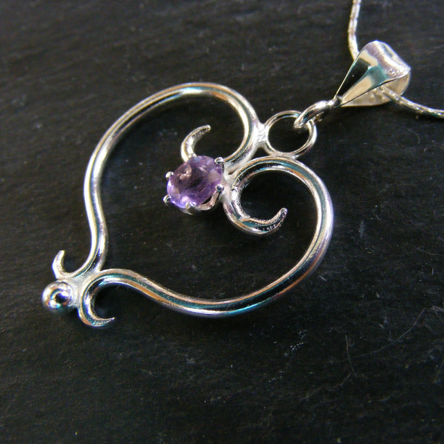 Pendant in Sterling Silver Hand Forged Heart with Amethyst Gemstone And Chain