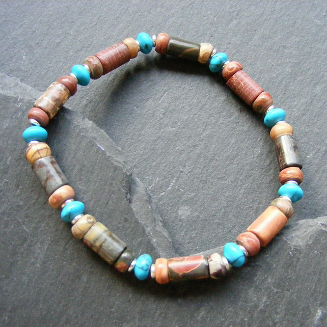 Stretch Bracelet in Sterling Silver with Picasso Jasper & Howlite Turquoise Gems