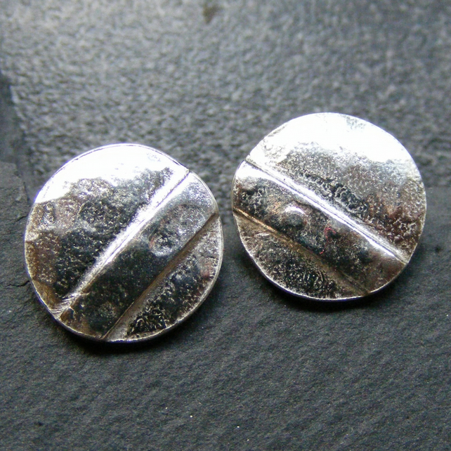 Sterling Silver Hand Forged Stud Earrings Shield Design Hammered Finish