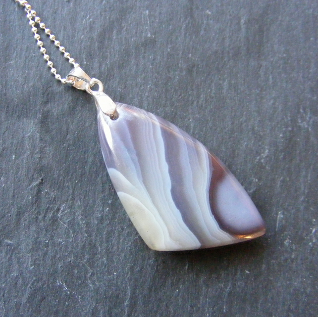 Pendant & Chain in Sterling Silver Set with Botswana Agate Gemstone