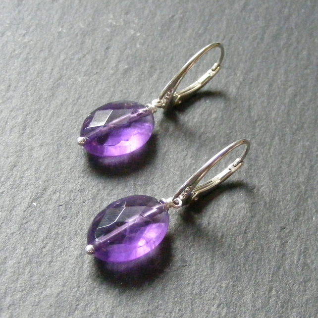 Long Drop Earrings in Sterling Silver Set with Faceted Amethyst Gemstone Beads