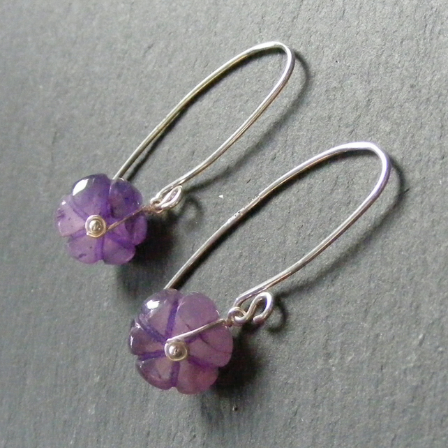 Drop Earrings in Sterling Silver with Carved Amethyst Gem Beads Hall Marked