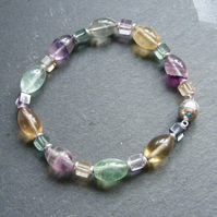 Bracelet in Sterling Silver with Colours of Fluorite Gemstones & Magnetic Clasp