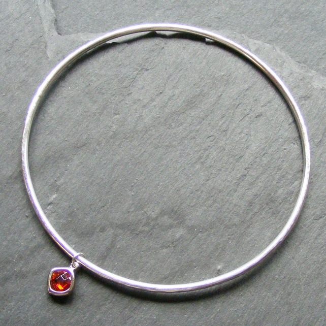 Sterling Silver Stacking Bangle LARGE Hammered Finish &Crystal Charm Hall Marked