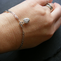 Sterling Silver Marine Link Bracelet with Hand Cast Trilobite Fossil Charm