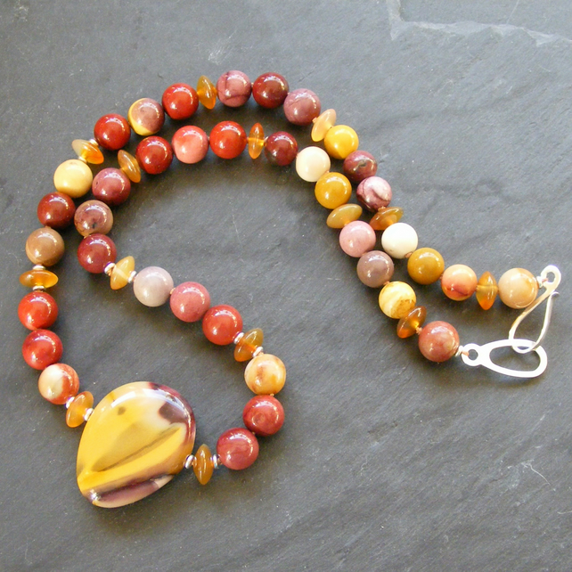 Necklace in Sterling Silver With Mookaite Jasper & Carnelian Gem Beads  925