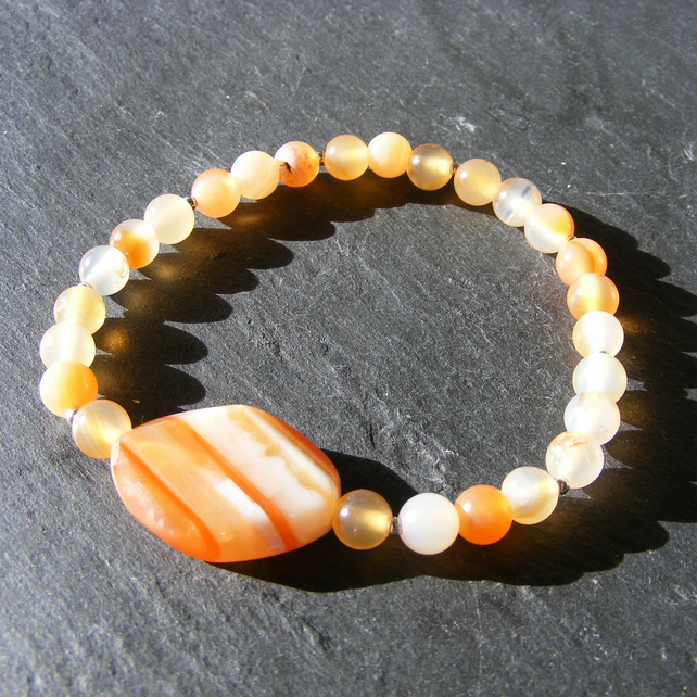 Stretch Bracelet with Carnelian and Sardonyx Gemstones with Sterling Silver