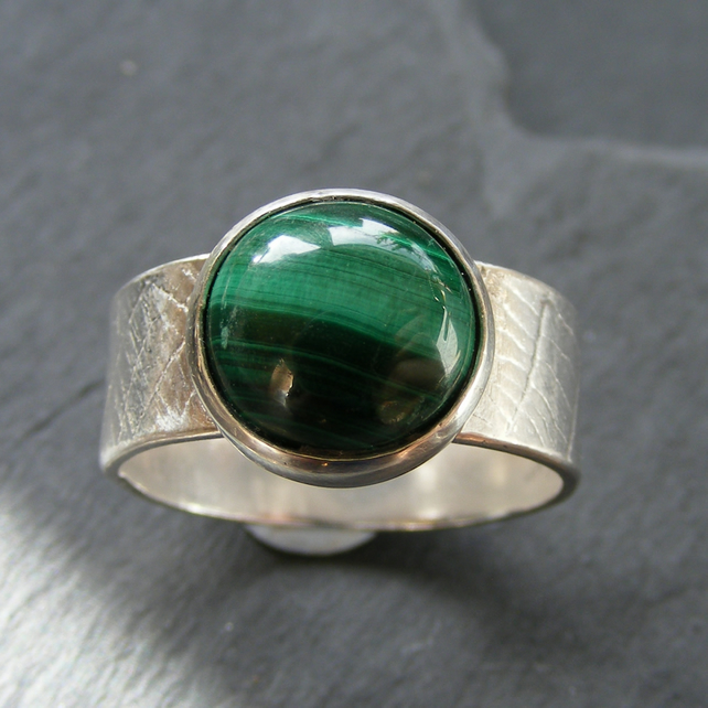 Ring in Sterling Silver with Malachite Hall Marked Hand Forged UK Size T