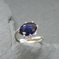Ring in Sterling Silver with Large 4ct Iolite or Water Sapphire Gem Hall Marked