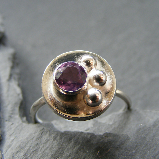 Ring in Sterling Silver with Natural Amethyst Gem Modernist Design Hall Marked
