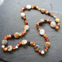 Necklace with Carnelian & Quartz Gemstones with Sterling Silver Clasp