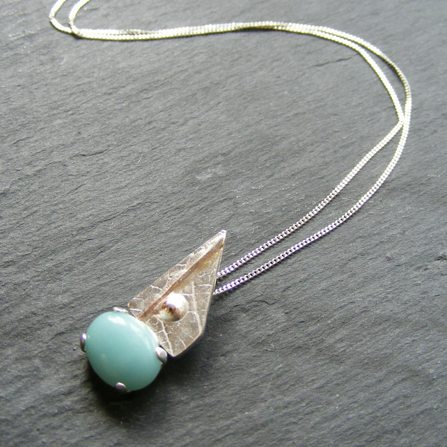 Pendant & Chain in Sterling Silver with Amazonite & 9K Gold Accents Hall Marked