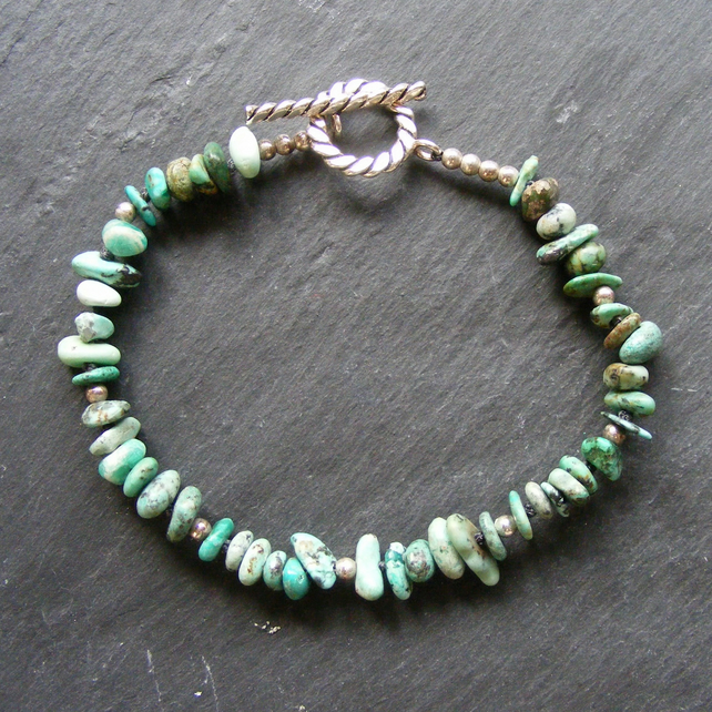 Bracelet in Sterling Silver with Turquoise Gemstone Nuggets