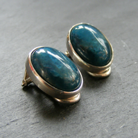 Clip on Earrings in Sterling Silver with Apatite Gemstone Cabs -Non Pierced Ears