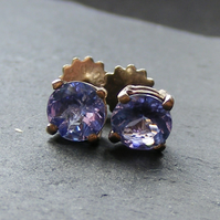18 Carat White Gold Stud Earrings Set with Tanzanite Gemstones - Hand Made