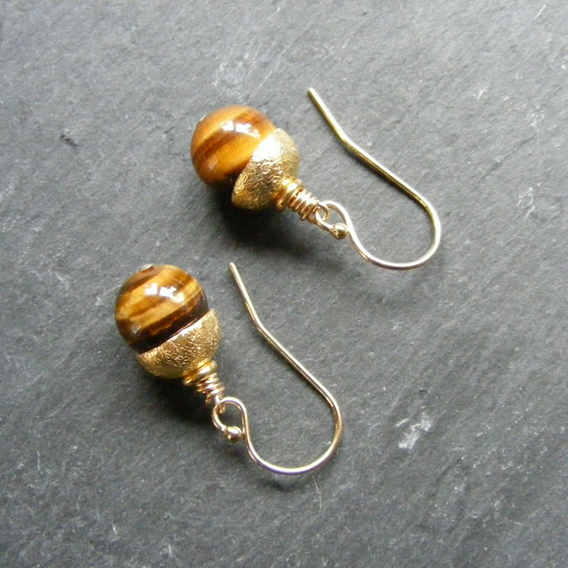 Earrings in Sterling Silver Vermeil & Tigers Eye Gemstone - Acorn Style 925