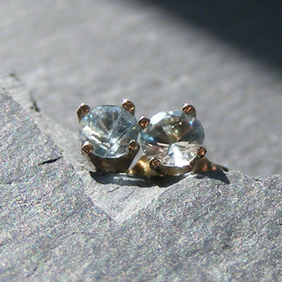 Stud Earrings 585 14K White Gold with Natural Aquamarine Gems - March Birthstone