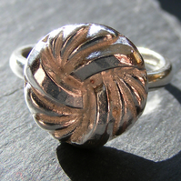 Ring in Sterling Silver With Cast Vintage Knot Button Hall Marked Hand Forged