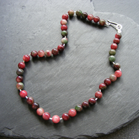Necklace in Sterling Silver with Tourmaline Beads Hall Marked Hand Forged