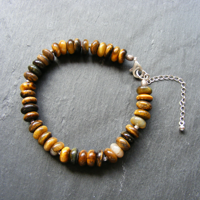 Bracelet in Sterling Silver With Tigers Eye Gemstone Beads