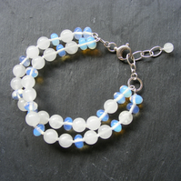 Bracelet in Sterling Silver With White Jade & Opalite Gemstone Beads