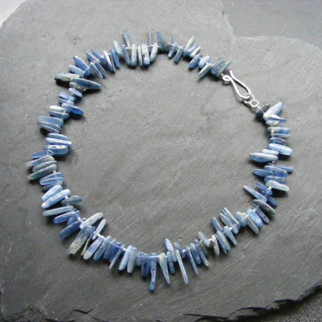 Necklace in Sterling Silver with Kyanite Gemstone Shards Hall Marked Hand Forged