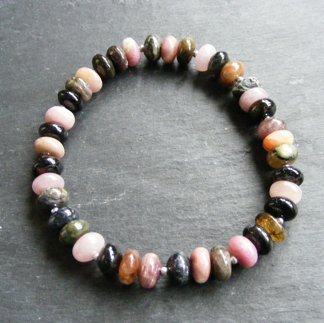 Colours of Tourmaline Stretch Bracelet with Sterling Silver Beads