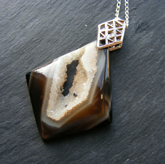 Pendant and chain in Sterling Silver with Rare Agate Druzy