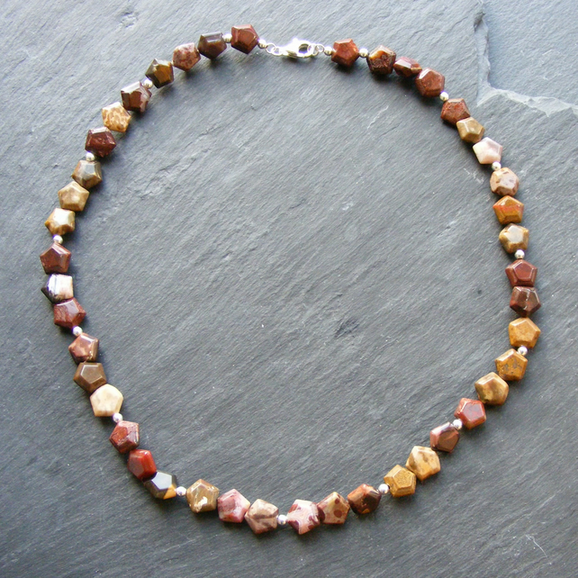 Necklace in Sterling Silver with Pentagon Cut Mixed Agate Gemstones