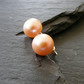 Sterling Silver Cultured Pearl Stud Earrings in Natural, Un-dyed Peach Tone AAAA