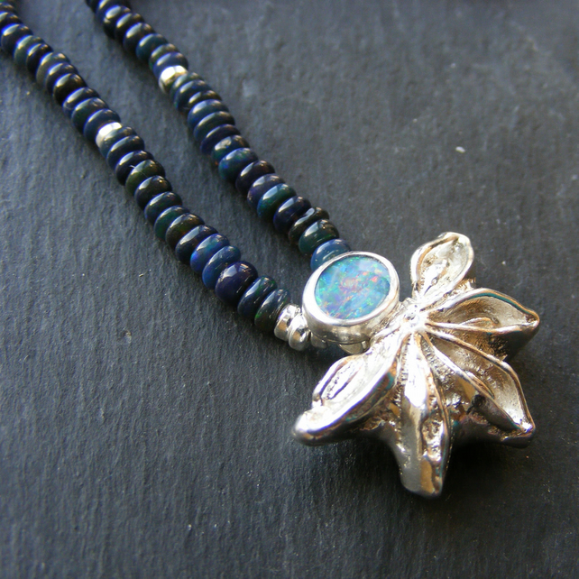 Natural Black Ethiopian Opal and Cast Sterling Silver Star Anise Necklace