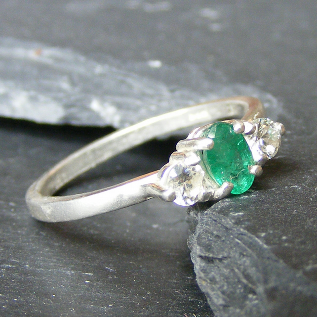 Classic Trilogy Ring in Sterling Silver with Natural Emerald and CZ Gemstones