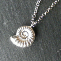 Pendant and Chain in Sterling Silver with Cast Ammonite Fossil Hall Marked
