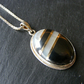 Pendant & Chain in Sterling Silver with Vintage Haematite, MOP & 18K Gold Inlay