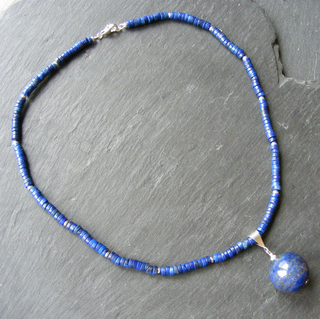 Lapis Lazuli Necklace With Removable Pendant In Sterling Silver