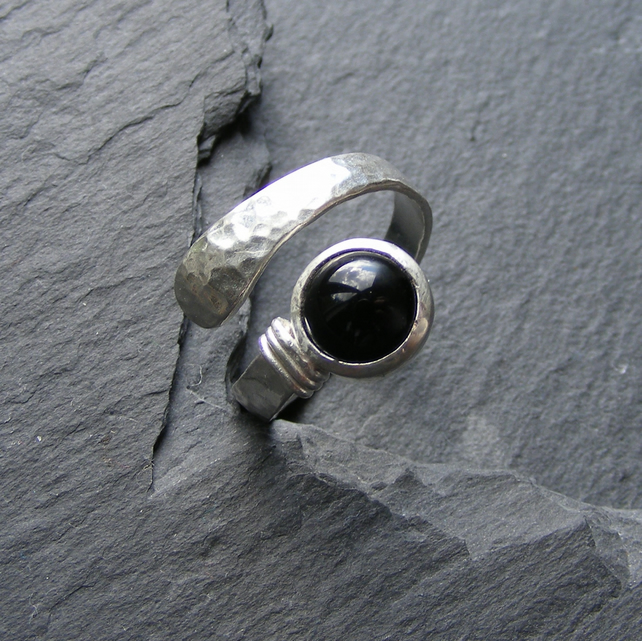 Hand Made Sterling Silver and Onyx Hammered Ring, Adjustable Size UK O