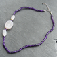 Necklace in Sterling Silver with Amethyst & Agate Druzy Gems - Asymmetric Design