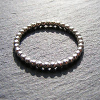 Simple Sterling Silver Beaded Wire Stacking Ring 2mm Size P