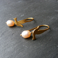 Little Dove Drop Earrings Sterling Silver Vermeil with Peach Fresh Water Pearls