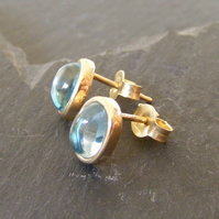 9ct Yellow Gold Blue Topaz Oval Stud Earrings - Alternative December Birthstone